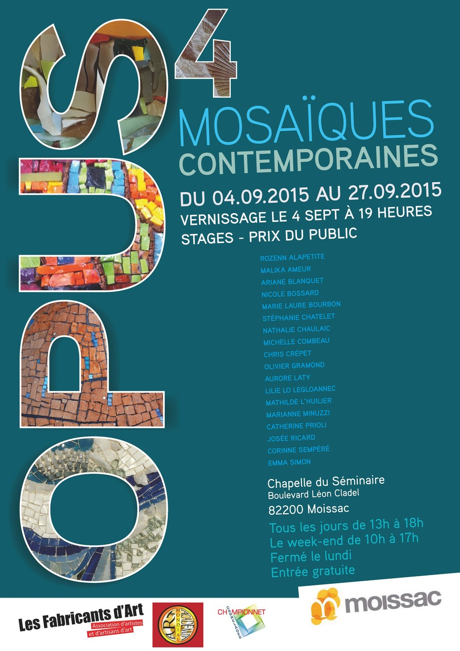 exposition de mosaistes à moissac (82), OPUS4, du 4 au 27 septembre 2015