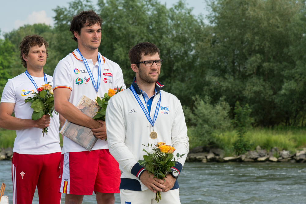 K1 Männer: Quim Fontané (ESP) vor Tomasz Czaplicki (POL) und Sebastian Devred (FRA), Foto: Birgit Stiebing