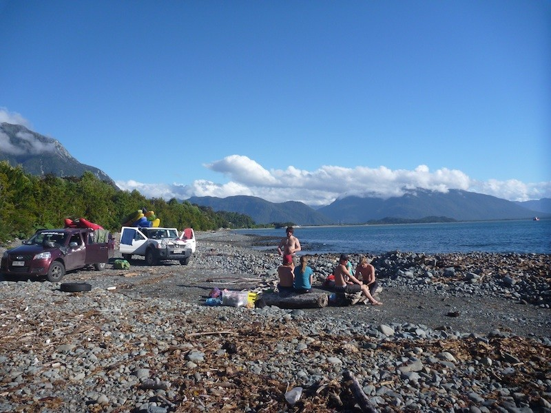 Camp am Strand bei Chaiten, Chile-Trip 2013/14