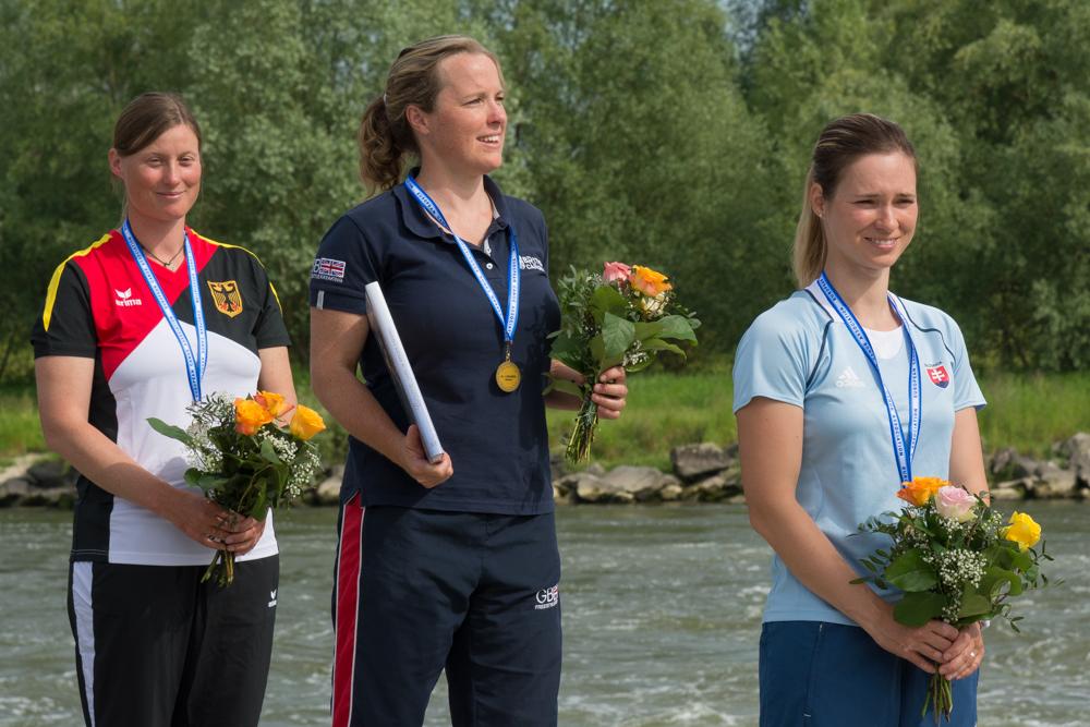 K1 Damen: Claire O´hara (GBR) vor Anne Hübner (GER) und Nina Csonkova (SVK), Foto: Birgit Stiebing