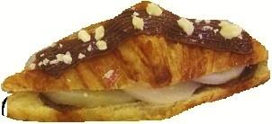 Croissant garni crème d'amande chocolat et poires sirop