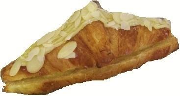 Croissant garni crème d'amande praliné et abricots sirop