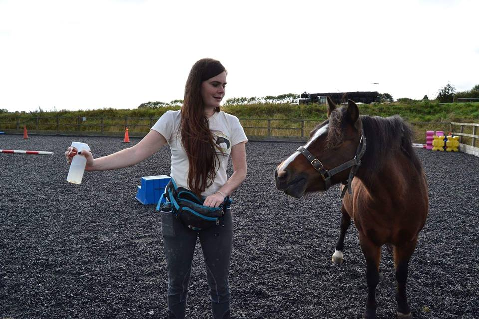 Jane from East Devon Riding School learning that fly spray are not scarry. (Photo by Millie Moore)