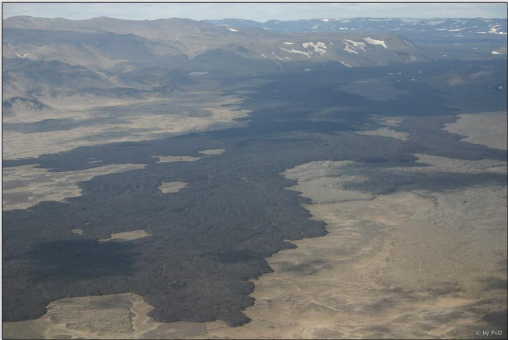 Lavafelder der Krafla von oben