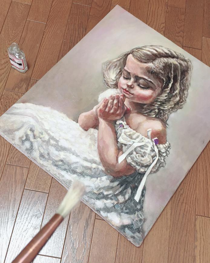 油絵の肖像画や人物画の制作過程でルツーセを