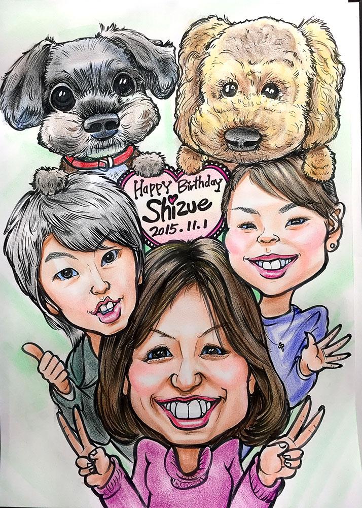 【カリカチュア似顔絵】愛犬と一緒にご家族で!