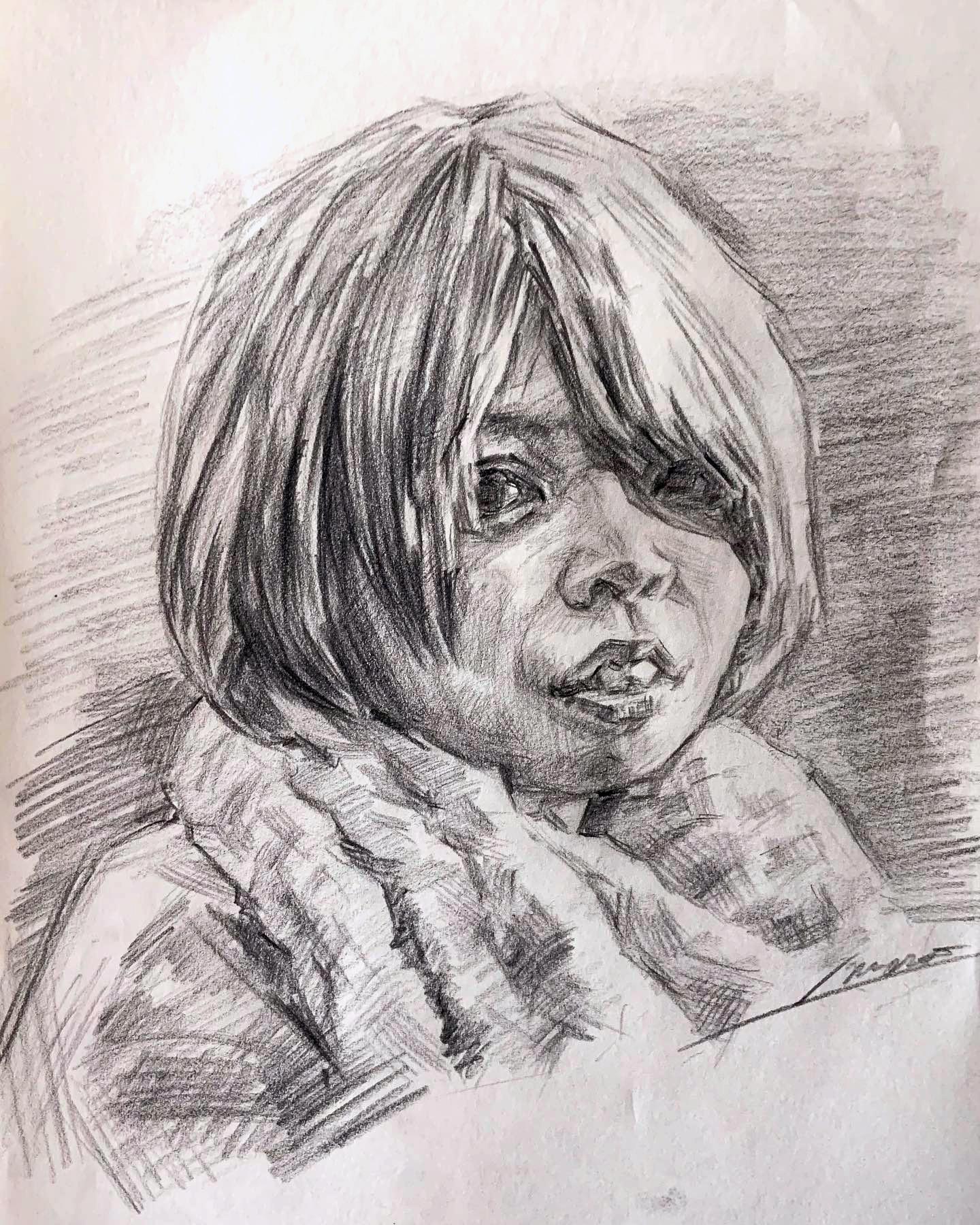 人気の肖像画人物デッサン人物画9