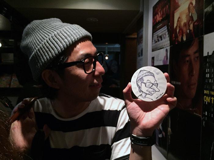 赤赤坂、夜のお店のイベントでコースター似顔絵!