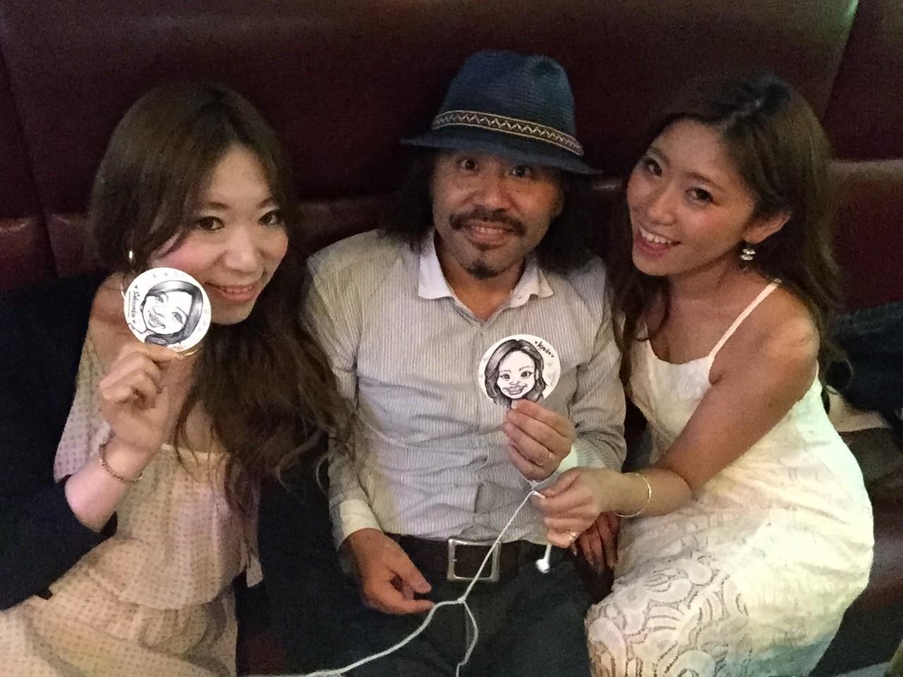 赤坂、夜のお店のイベントでコースター似顔絵!