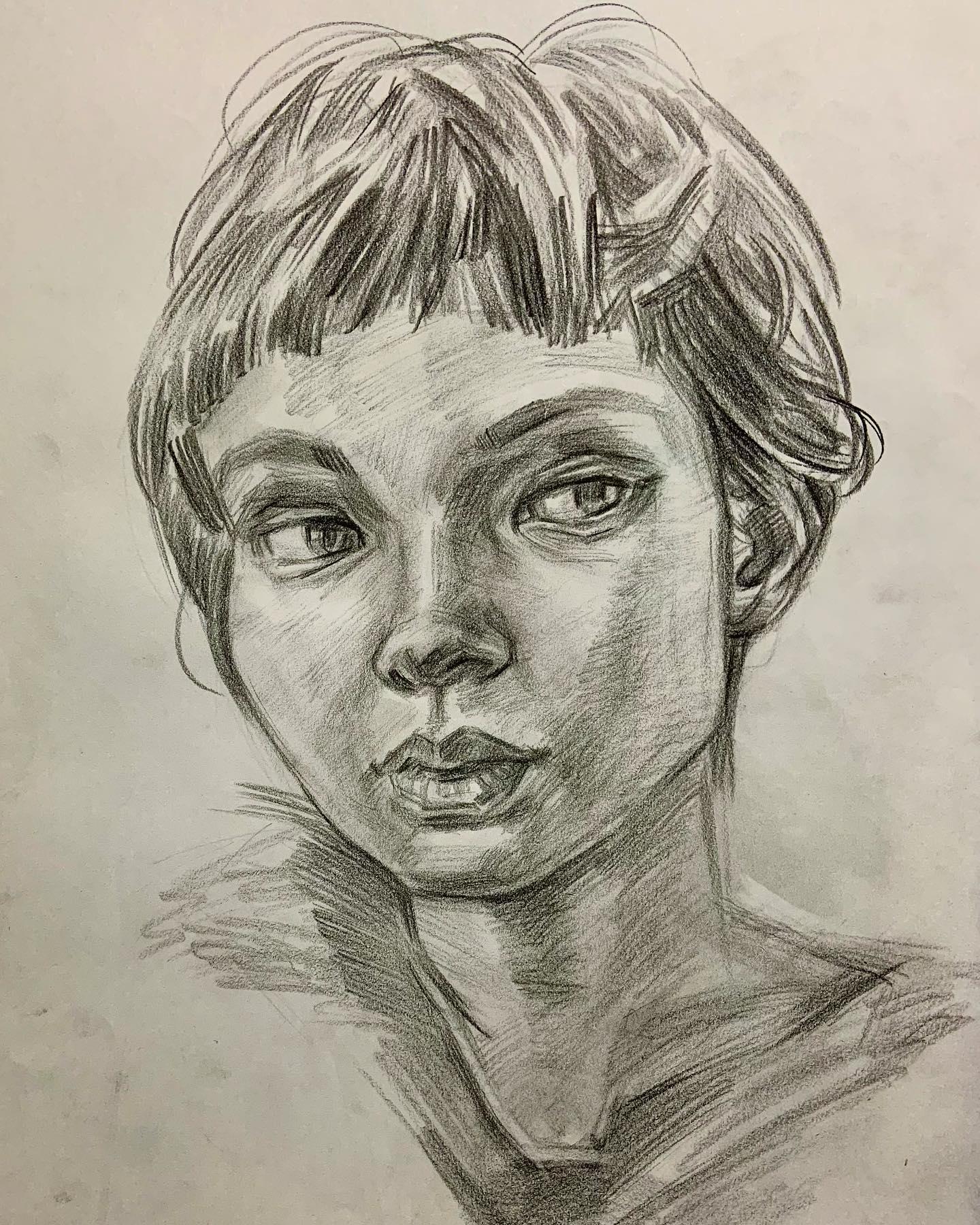 人気の肖像画人物デッサン人物画1