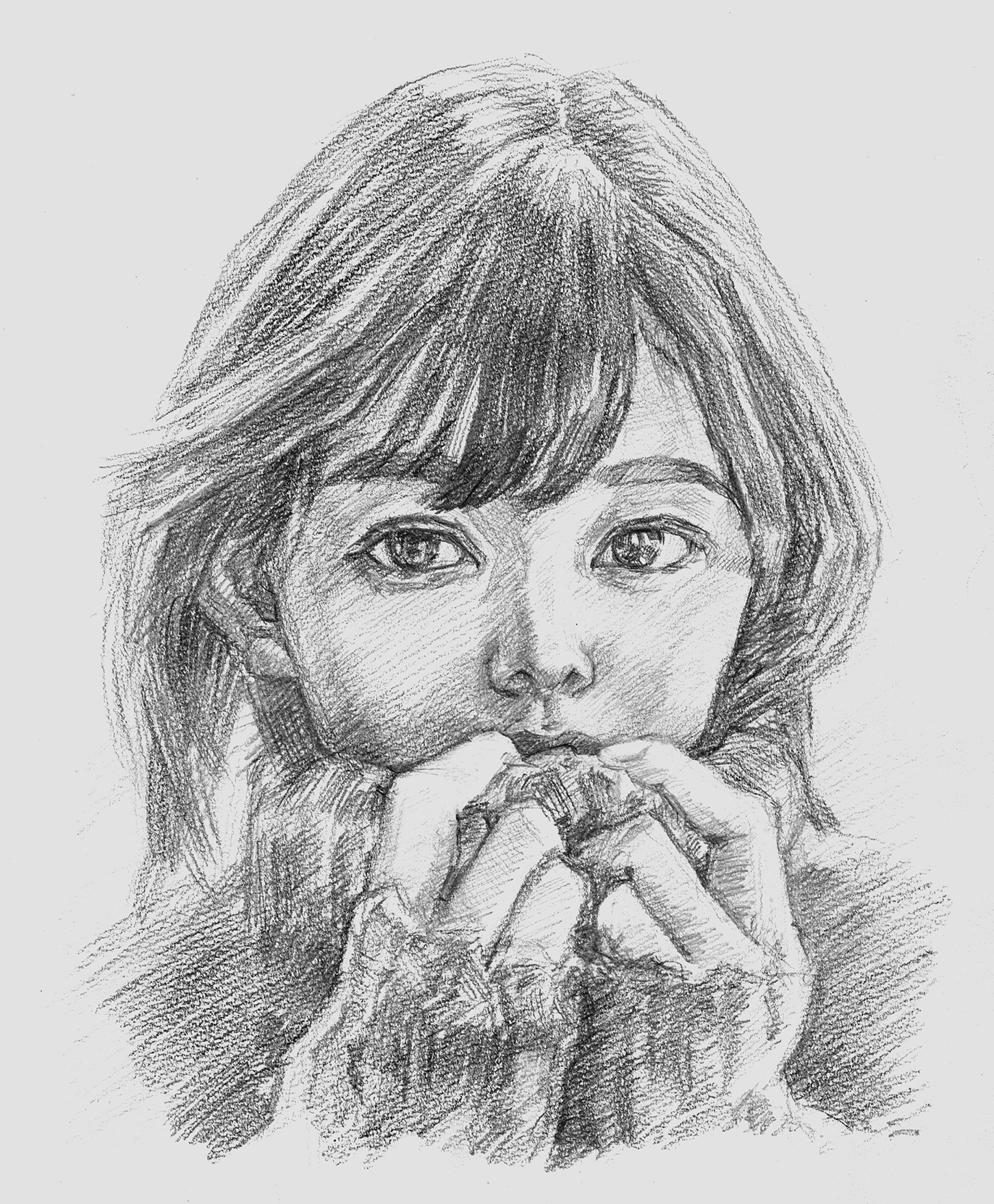 人気の肖像画人物デッサン人物画14