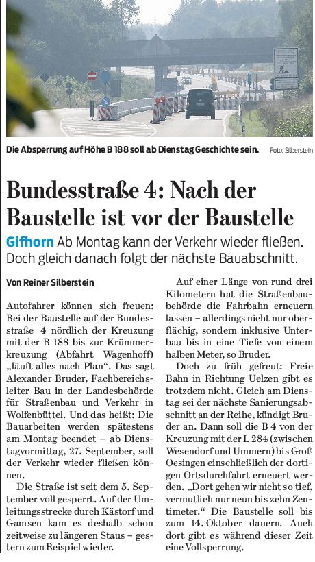 Gifhorner Rundschau 23.09.2016