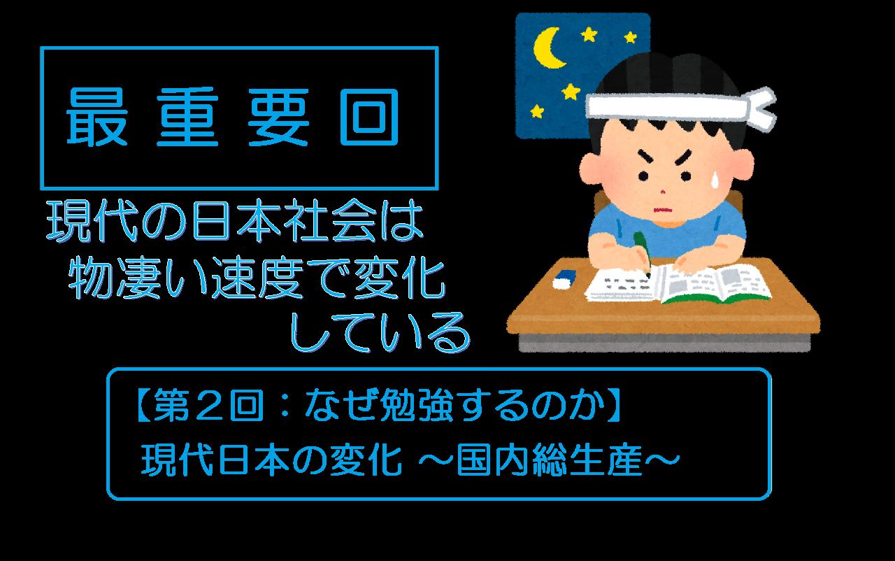 【第2回:なぜ勉強するのか】現代日本の変化 ~国内総生産ver.2021 ~