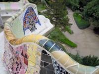Gaudi, détail du banc ondulant du park Guell (Barcelone)
