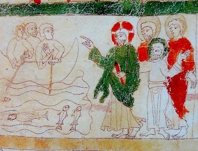 La bible de Ripoll (Catalogne) du 11ème siècle, la pêche miraculeuse