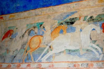 Peinture murale au château comtal de Carcassonne du 12ème siècle.