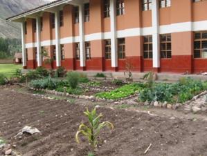 El Biohuerto Educativo al aire libre delante del frontis de la escuela pública de Coya (Cusco - Perú)