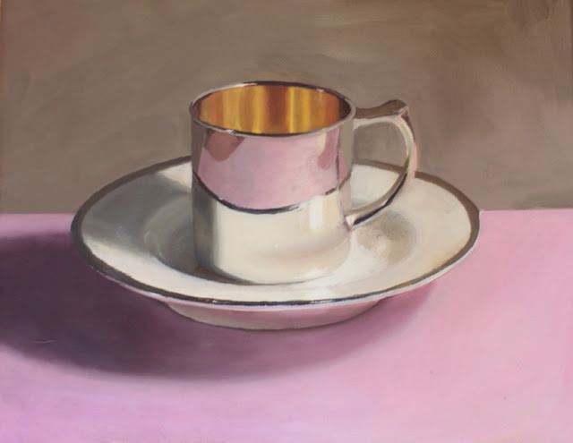 "Katherine's Silver Baby Cup, Oil on Canvas, 8x10"" Private Collection"