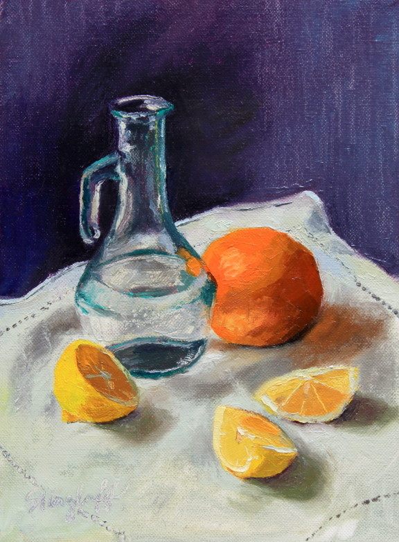 "Glass Bottle with Citrus, Oil, 9x12""-- SOLD"