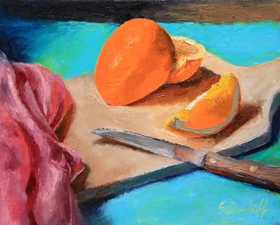 "Freshly Sliced AKA Strange Arrange L'Orange, Oil, 8x10""-- SOLD"