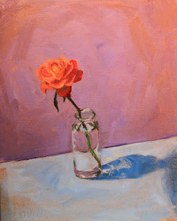 "Single Bloom in Glass, Oil on Board, 12x16""-- PRIVATE COLLECTION"