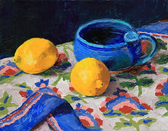 "Lemons on Flowered Cloth, Oil, 8x10""-- SOLD"