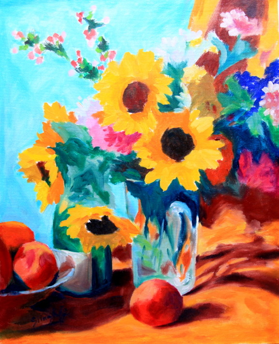 "Sunflowers with Oranges, Oil on Canvas, 16x20"" PRIVATE COLLECTION"