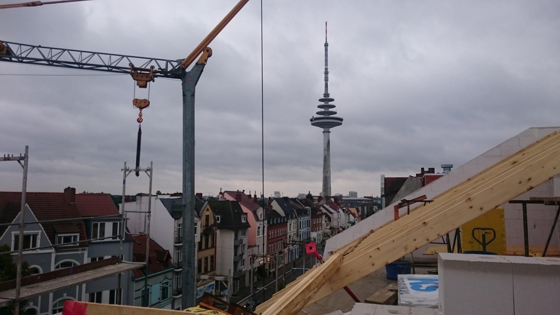 Über den Dächern von Bremen. Sogar bei Regenwetter noch faszinierend.