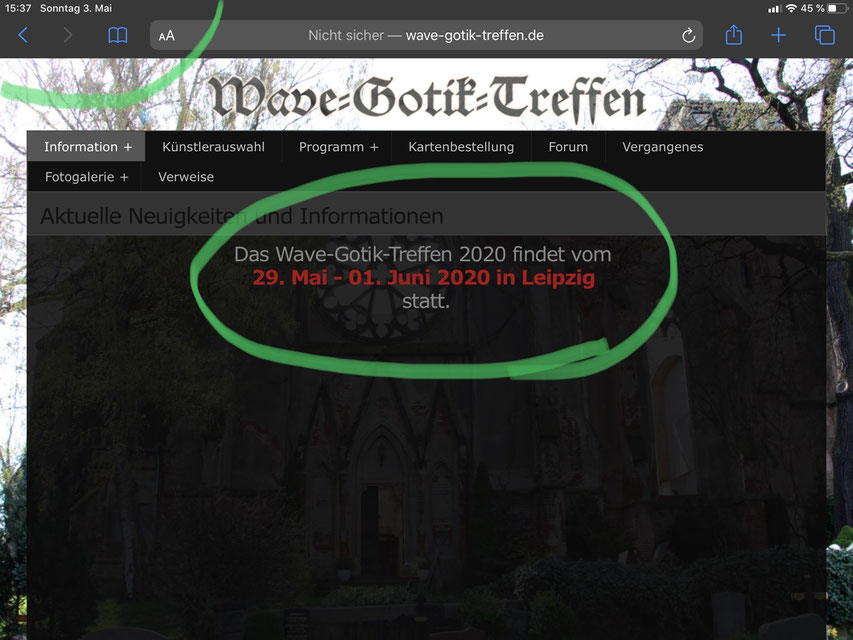 Screenshot der WGT-Webseite