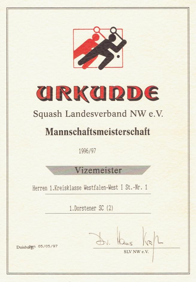 Vizemeister 1996/ 1997