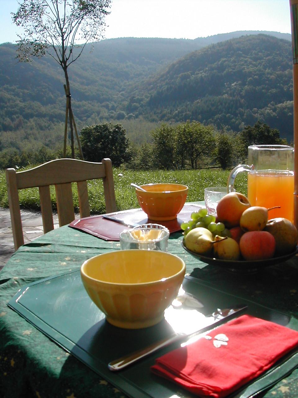 petit déjeuner face à la Montagne Noire