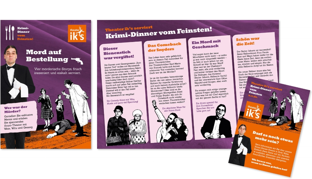 THEATER X · Flyer, Reminderpostkarte, Logo · Konzeption, Gestaltung, Illustration · WINTERPOL