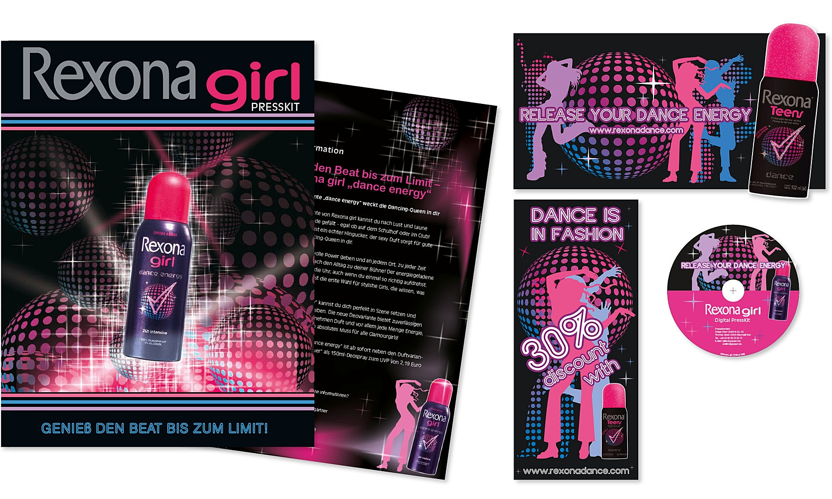 REXONA GIRL · PR-Mappe, CD, Flyer · Konzeption, Gestaltung · WINTERPOL