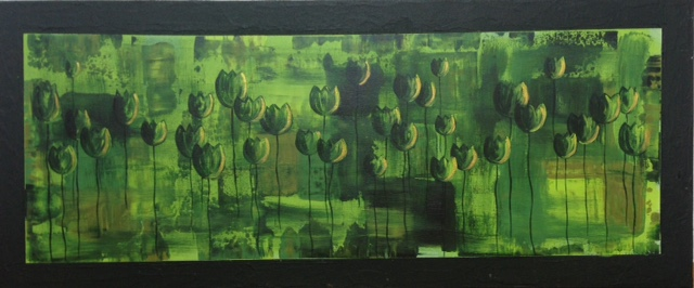 green harmony, 50*120 cm, Acryl auf Leinwand,  rahmenlos aufhängbar, datiert, signiert, Unikat, 520 €