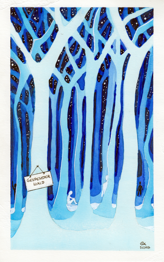 Gespensterwald (Aquarellpapier, 13x22cm)