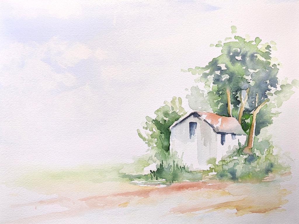 Haus am Strand (Aquarellpapier, 24x32cm)