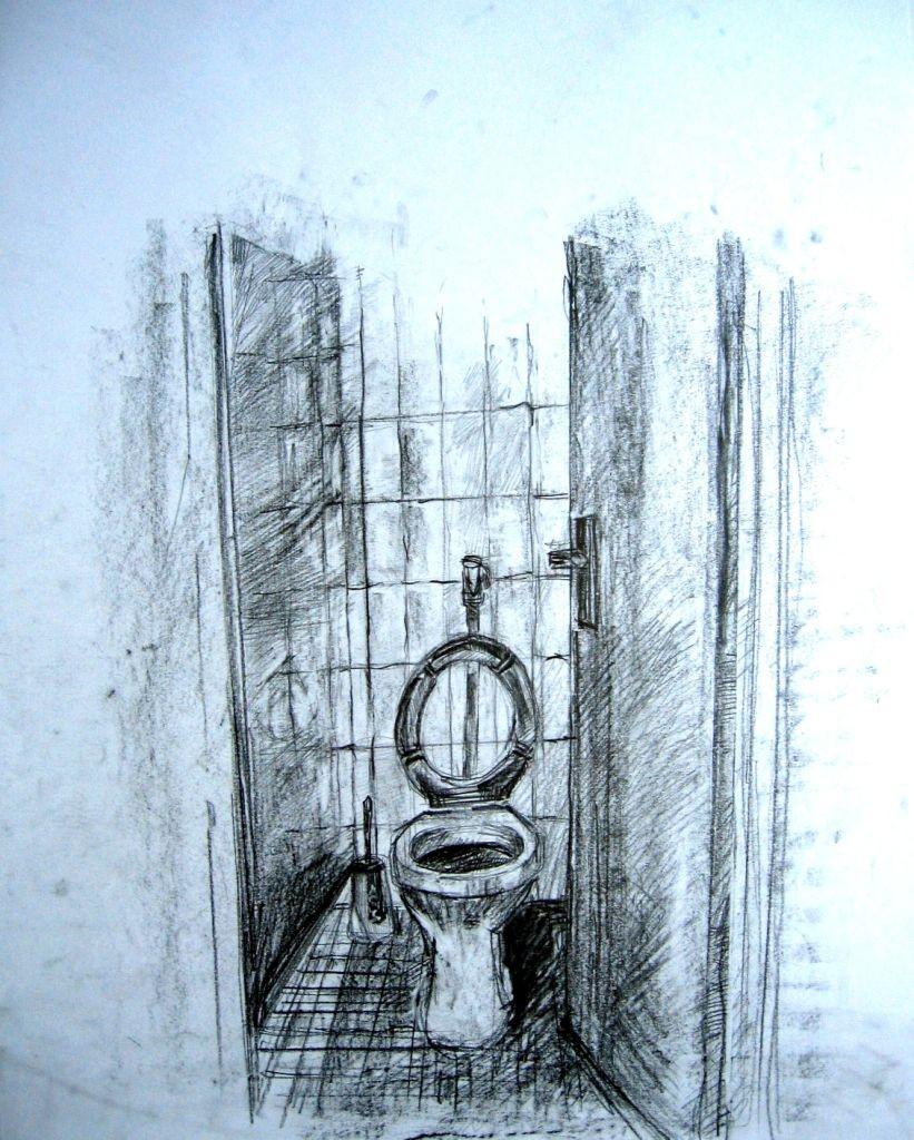 Toilette (Zeichenpapier, DIN A2)