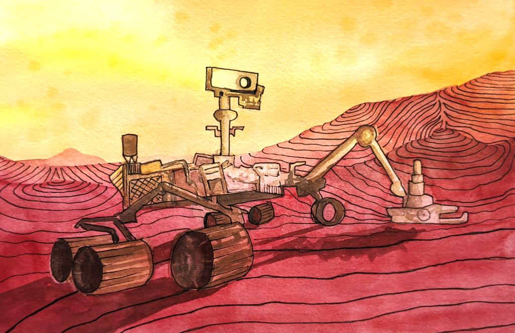 Neugierde auf dem Mars (Aquarellskizzenbuch)