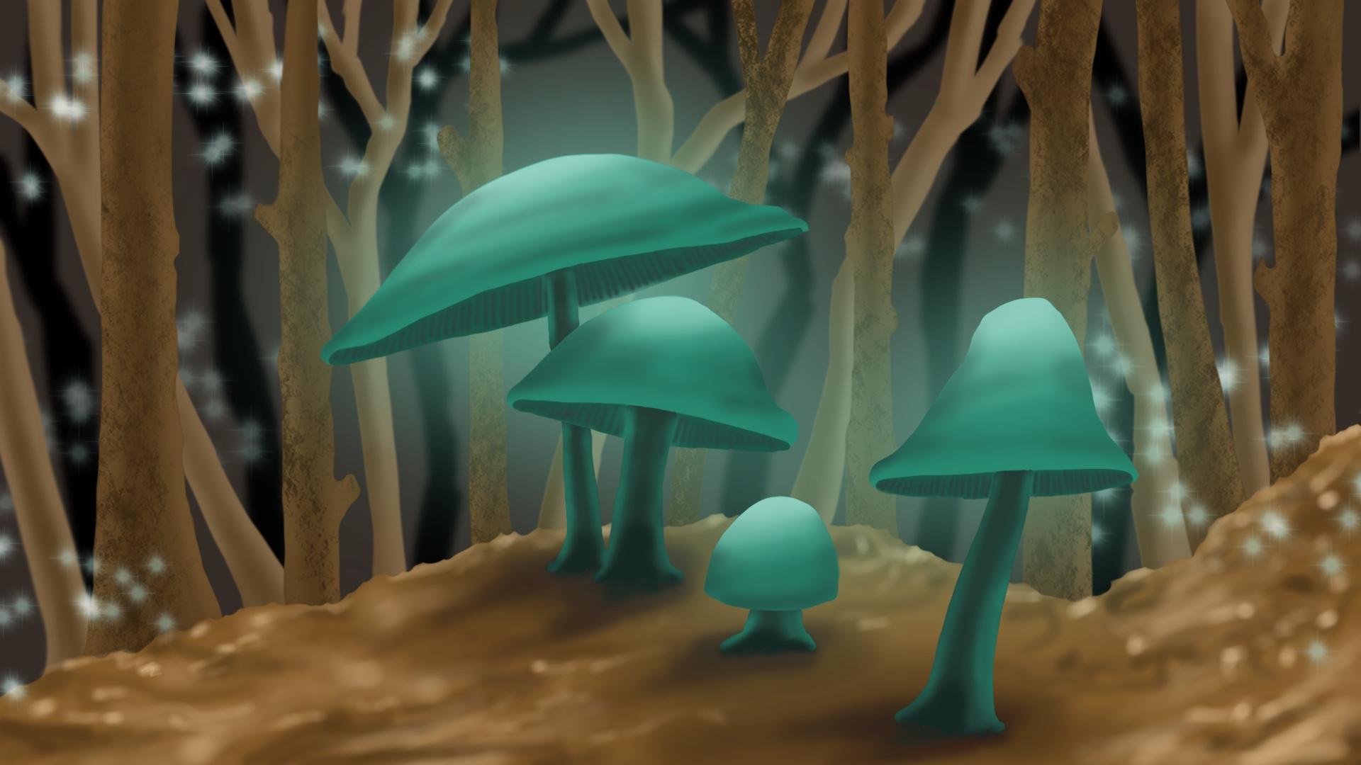 Glühende Pilze