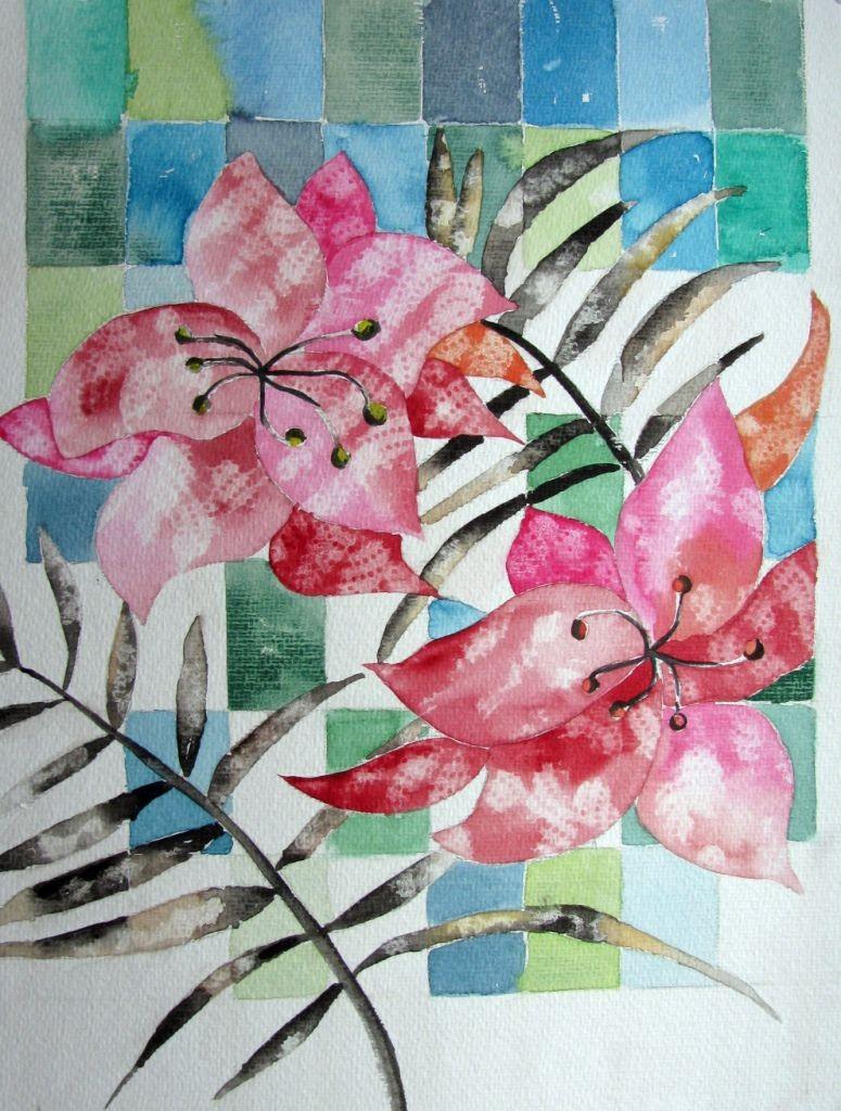 Blumendessin (Aquarellkarton, 40x40cm)