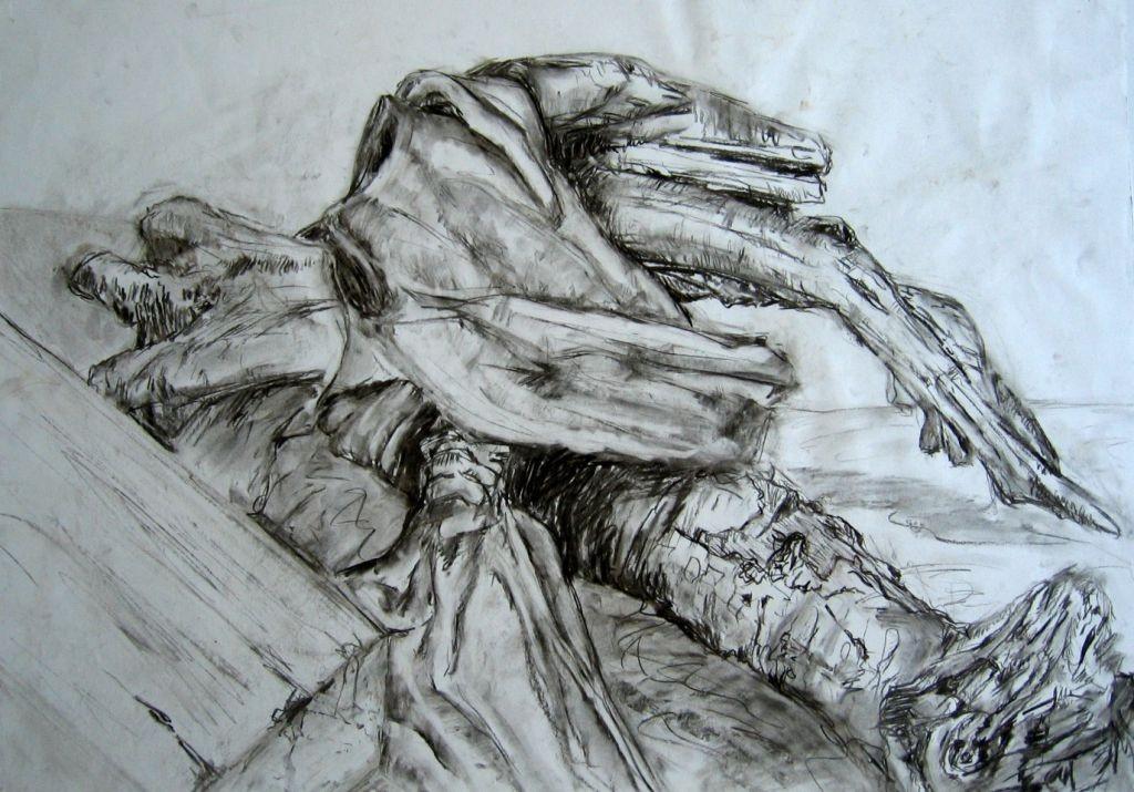 Holzblock, Rinde und Tuch (Zeichenpapier, DIN A2)