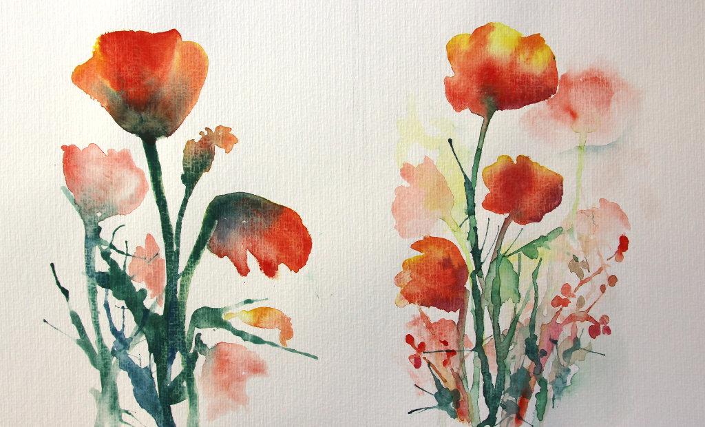 Rote Blüten (Aquarellpapier, 30x40 cm)