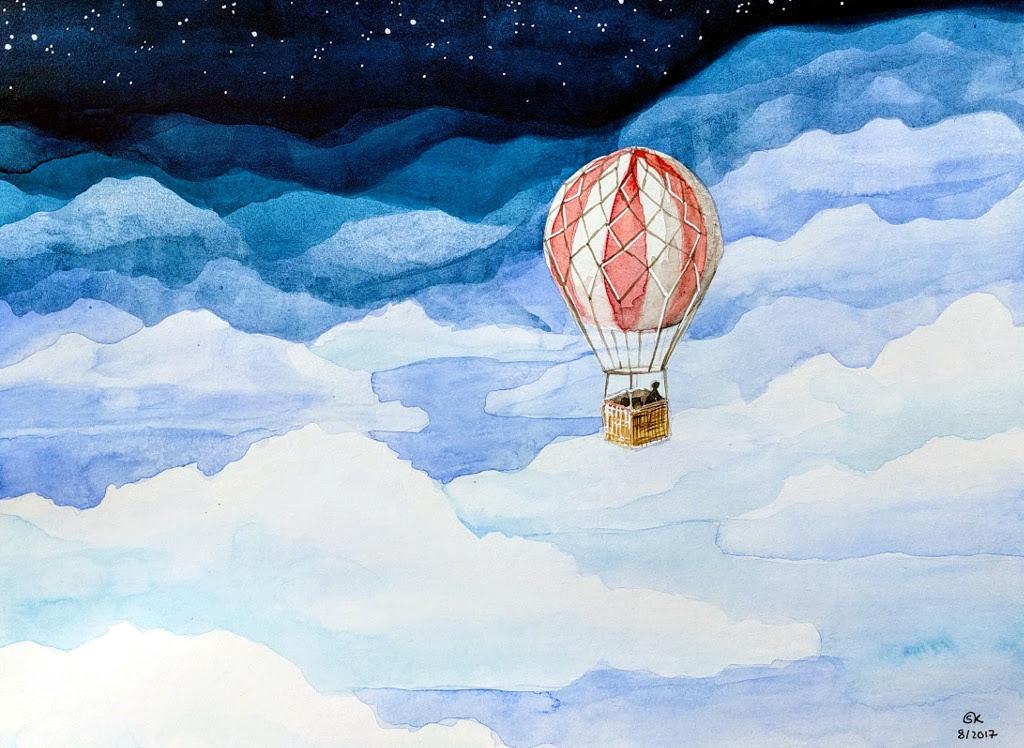 Wolkenfreiheit (Aquarellpapier, 24x32cm)