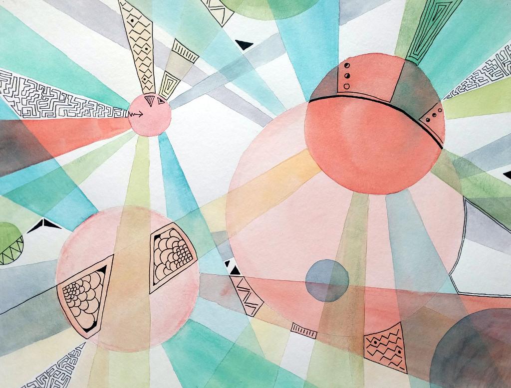 Die vier Sonnen (Aquarellpapier, 30x40cm)