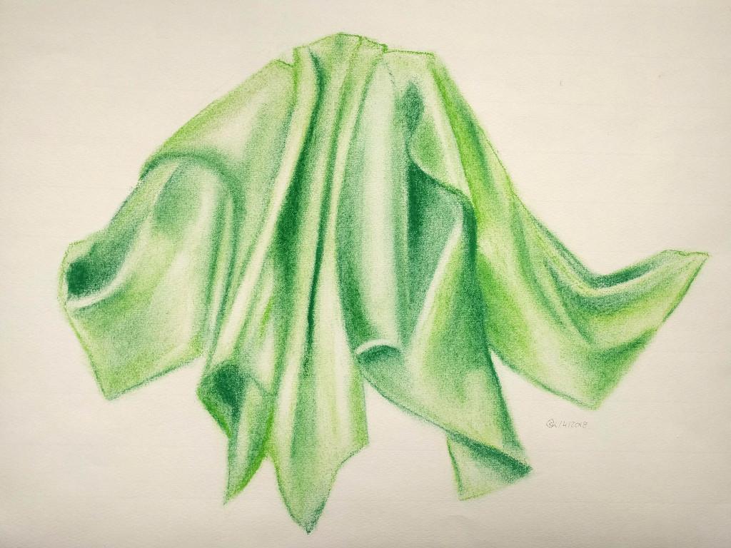 Grünes Tuch (Ingres, 30x40cm)