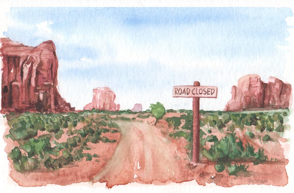 Road closed (Aquarellpapier, 12x16cm)