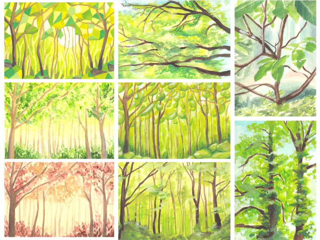 Wald und Bäume Skizzen (Aquarellskizzenbuch)