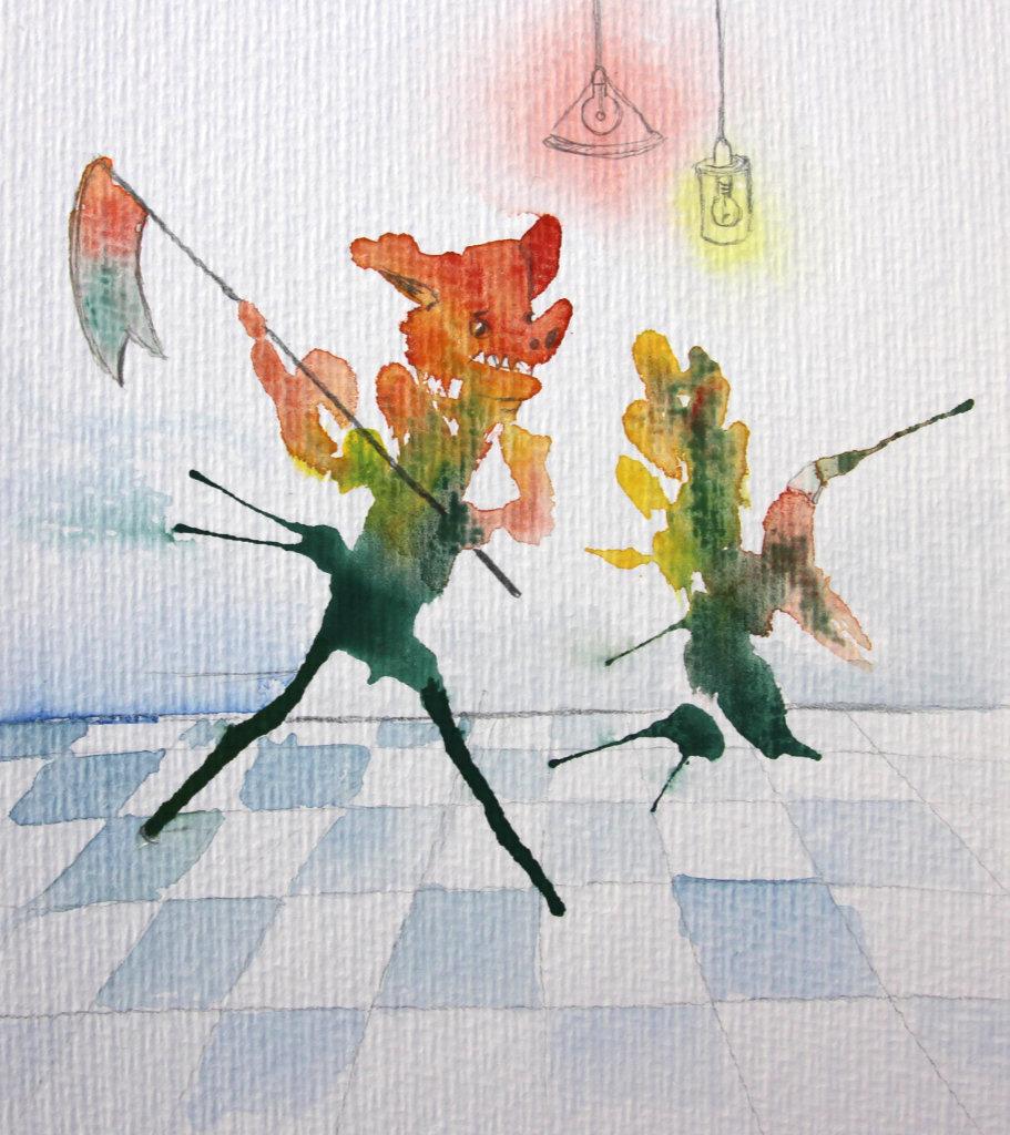 Klecksfiguren (Aquarellpapier, DIN A5)