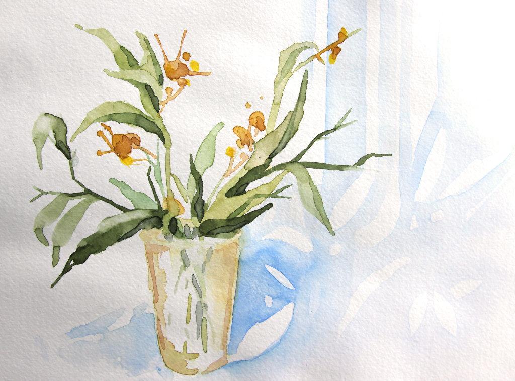 Glas mit Blumen (Aquarellskizzenbuch, 23x16cm)