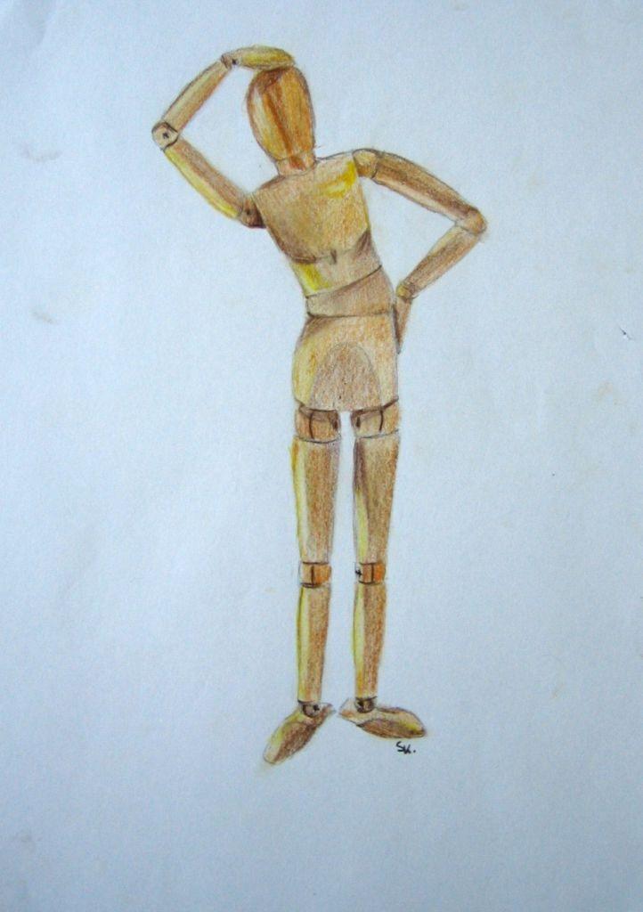 Holzfigur (Zeichenpapier, 21x29cm)
